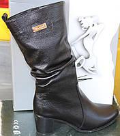 Сапоги женские кожаные зимние на каблуке от производителя модель САВ596, фото 1
