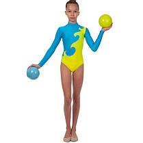 Купальник гімнастичний для виступів дитячий синій-жовтий UR DR-1405-BY, фото 2