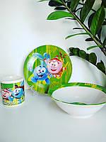 Детский набор посуды из керамики Смешарики