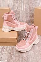 Женские осенние ботинки розовые эко-замш + эко-кожа, фото 1