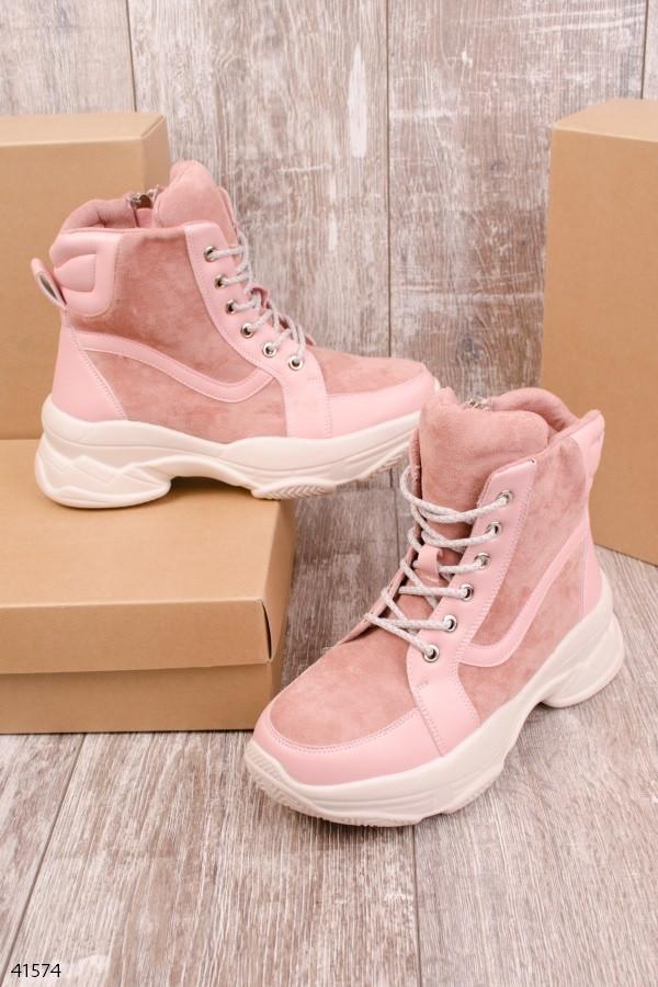 Женские осенние ботинки розовые эко-замш + эко-кожа