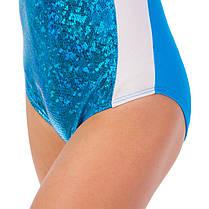 Купальник гимнастический для выступлений детский белый-синий UR DR-1499-WB, фото 2