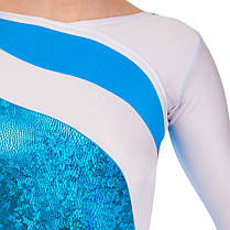 Купальник гимнастический для выступлений детский белый-синий UR DR-1499-WB, фото 3