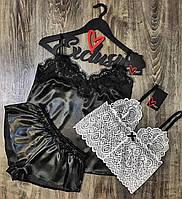 Кружевной топ + черная пижама майка и шорты.