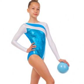 Купальник гимнастический для выступлений детский белый-синий UR DR-1499-WB