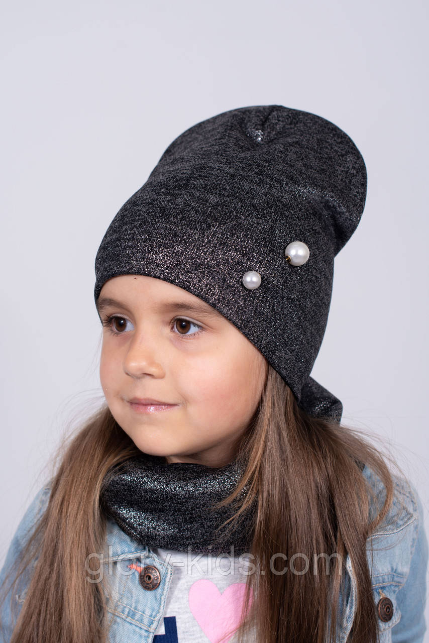 Трикотажний комплект шапка і хомут на флісі р48-52. Упаковка 5 шт різних кольорів