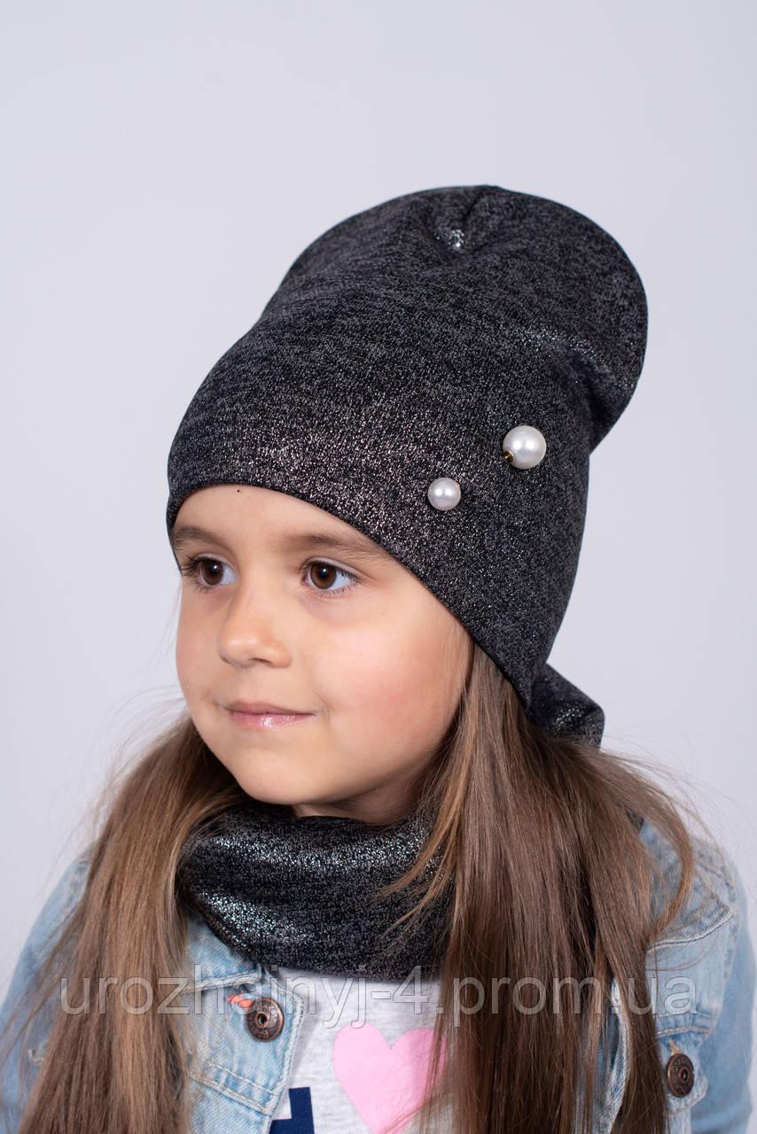 Трикотажный комплект шапка и хомут на флисе р48-52. Упаковка 5 шт разных цветов