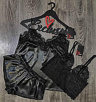 Черная пижама майка и шорты+кружевной бюстгальтер.