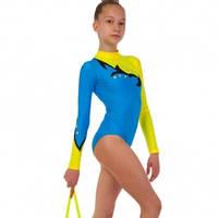 Купальник гимнастический для выступлений детский синий-желтый UR DR-1588-BY