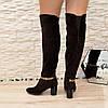Ботфорты зимние замшевые на устойчивом каблуке, декорированы цепочкой. Цвет коричневый, фото 2