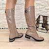 Сапоги женские кожаные на невысоком каблуке, цвет визон. Батал!, фото 3