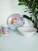 Набор детской посуды из керамики принцесса София