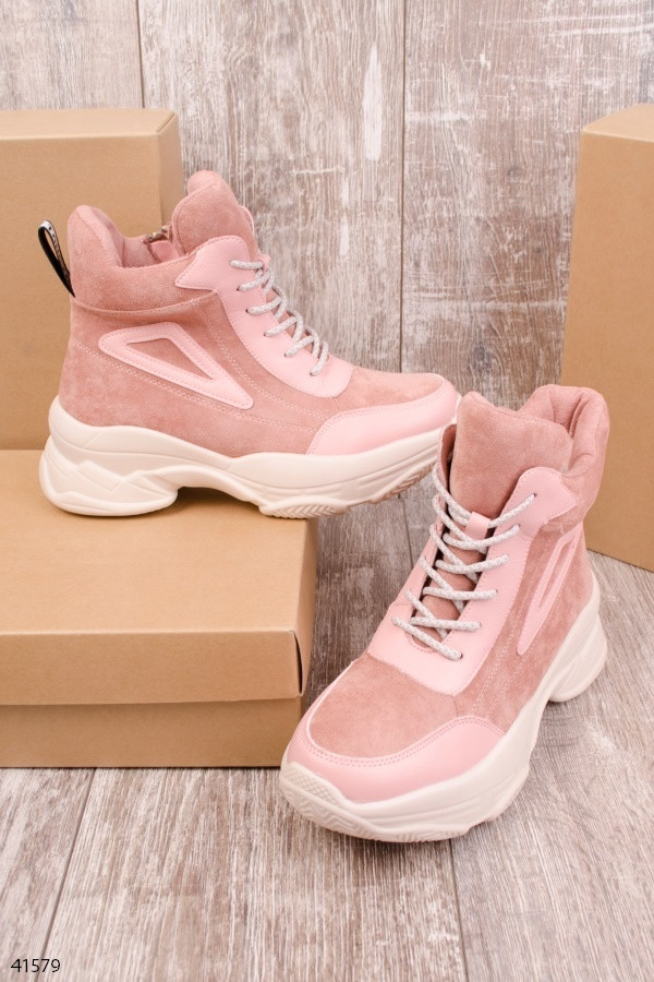 Женские осенние ботинки розовые эко-замш + эко-кожа подошва 5 см