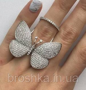 Белое кольцо большая бабочка ювелирная бижутерия, фото 2