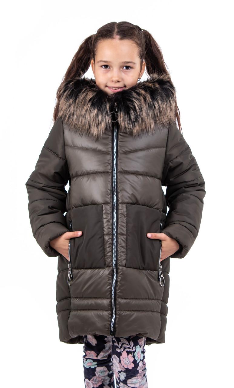 Зимняя куртка парка для девочки подростка  32 хаки