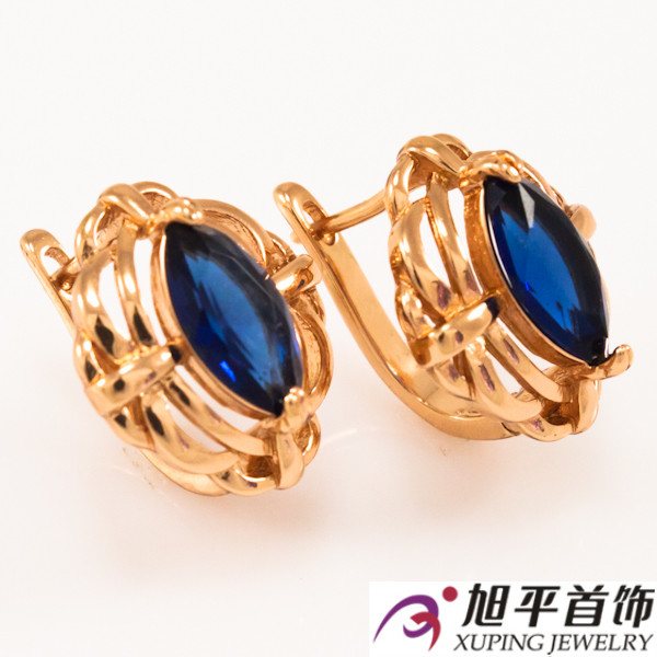 Серьги 1,5 см синий (Медицинское золото)