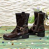 Ботинки женские демисезонные на маленьком каблуке, из натуральной лаковой кожи, фото 3