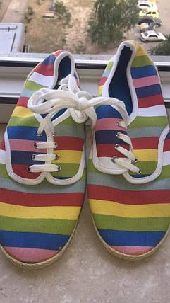 Легкие тряпчаные Макасины тапочки разноцветные, фото 2