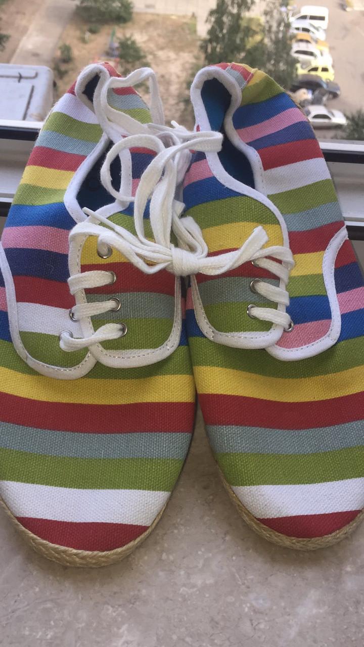Легкие тряпчаные Макасины тапочки разноцветные
