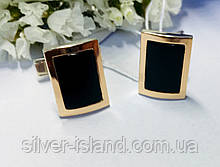 Серебряные запонки с ониксом и золотом Марк