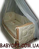 """Набор в кроватку для новорожденного  """"Элит вышивка""""  бежевый 9 элементов, фото 1"""