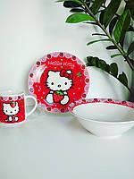 Детский набор посуды из керамики Китти красная