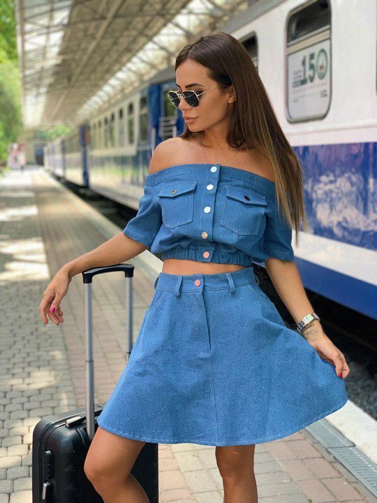 Женский джинсовый костюм топ+юбка