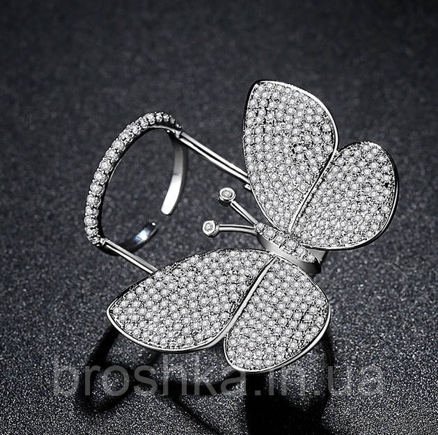 Белое кольцо большая бабочка ювелирная бижутерия