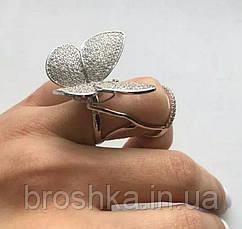 Белое кольцо большая бабочка ювелирная бижутерия, фото 3