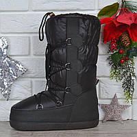 Дутики женские луноходы термо Moon Boots Black самая теплая обувь, Черный, 41/42