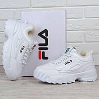 Кроссовки женские кожаные зимние Fila Disruptor 2 White белые на меху, Белый, 38