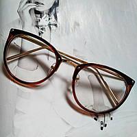 Имиджевые очки в золотой оправе коричневый
