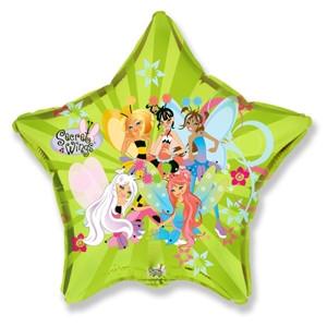 Фольгированный шар Звезда Феи Винкс 45см х 45см Зеленый
