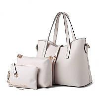 Набор женских сумок белый 3в1 из экокожи, фото 1