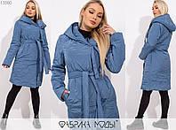 Пальто женское на запах MБ/-1006 - Темно-голубой, фото 1