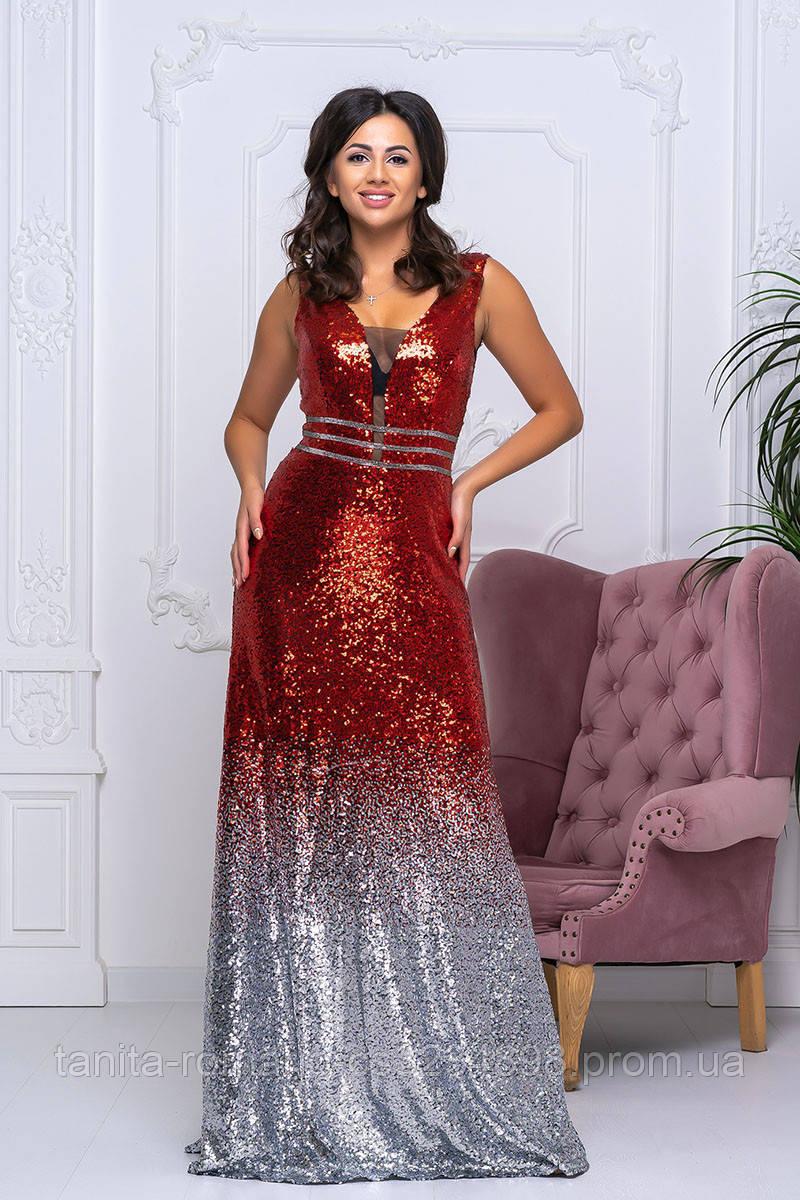 Вечернее платье 9024e Красный/серебро S M L