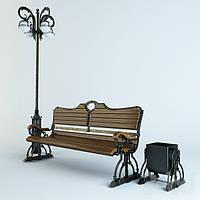 Комплект парковый. Скамейка, урна, фонарь.