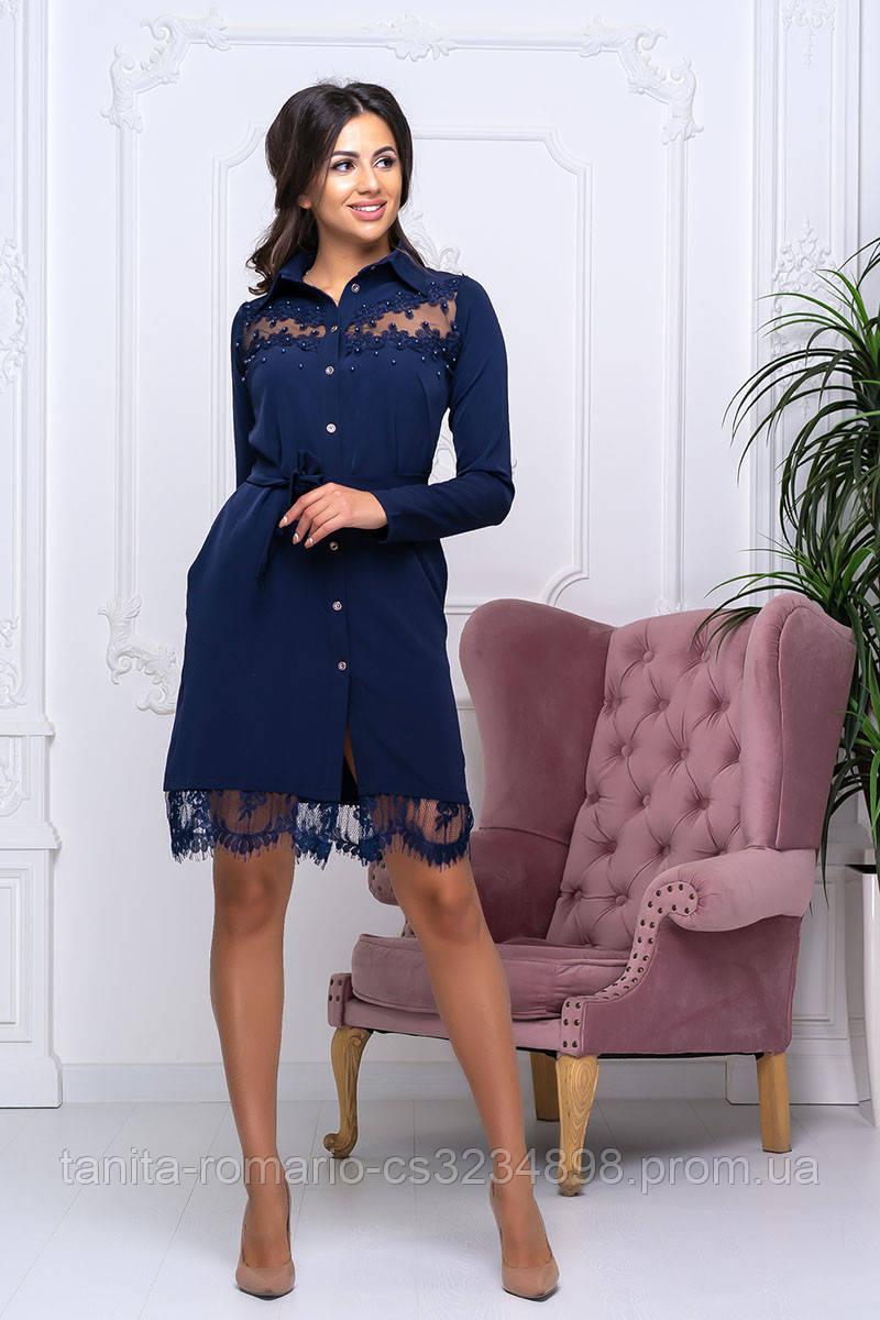 Повседневное платье 9163e Синий S M L