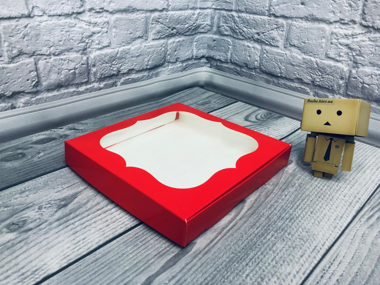*10 шт* / Коробка для пряников / 200х200х30 мм / печать-Красн / окно-обычн