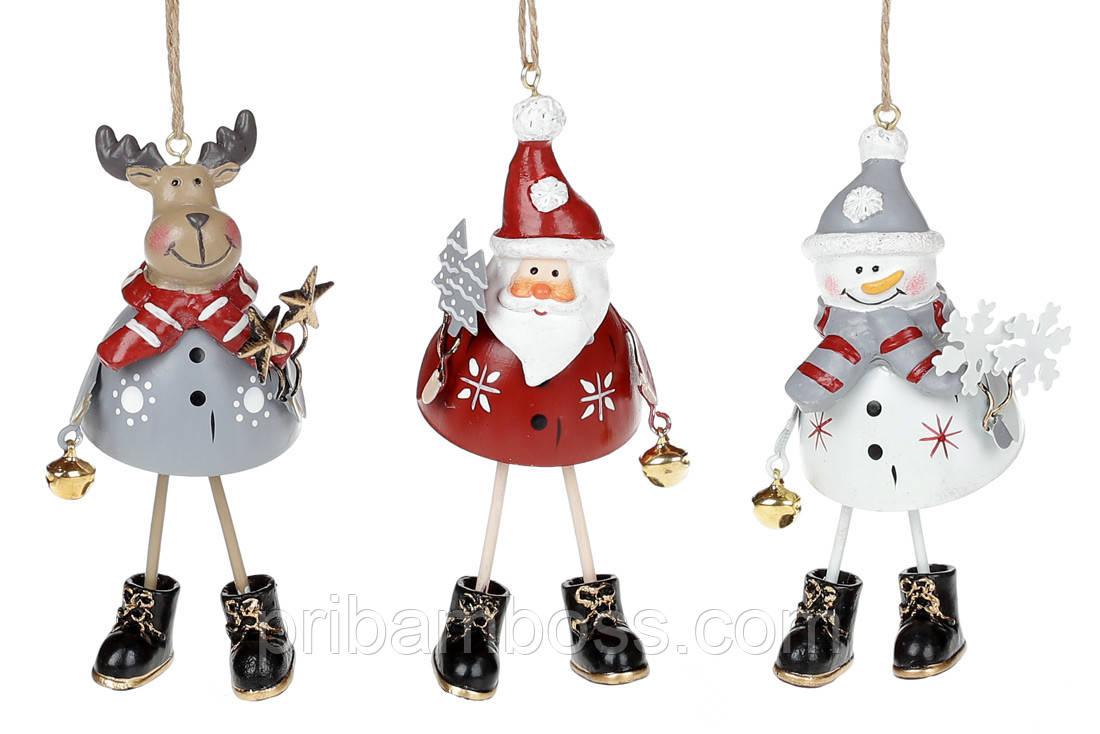 Подвесной металлический декор, 3 вида, 18см, цвет - белый с красным и серым