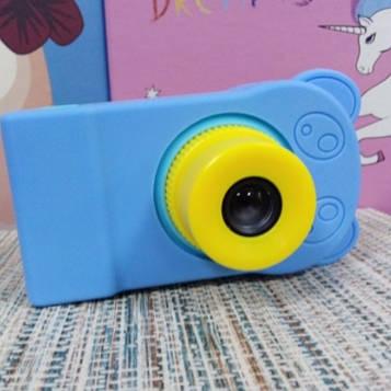 Силиконовый чехол на детский фотоаппарат голубой мишка