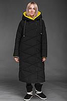 Женский пуховик TOWMY Черный с желтым 2365