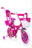 Детский розовый велосипед для девочки BARBIE 14 дюймов БАРБИ с родительской ручкой и корзинкой от 4 лет