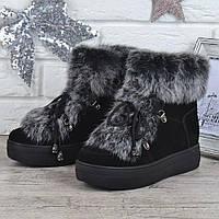 Ботинки женские зимние замшевые натуральный мех на платформе Rosso опушка кролик, Черный, 40