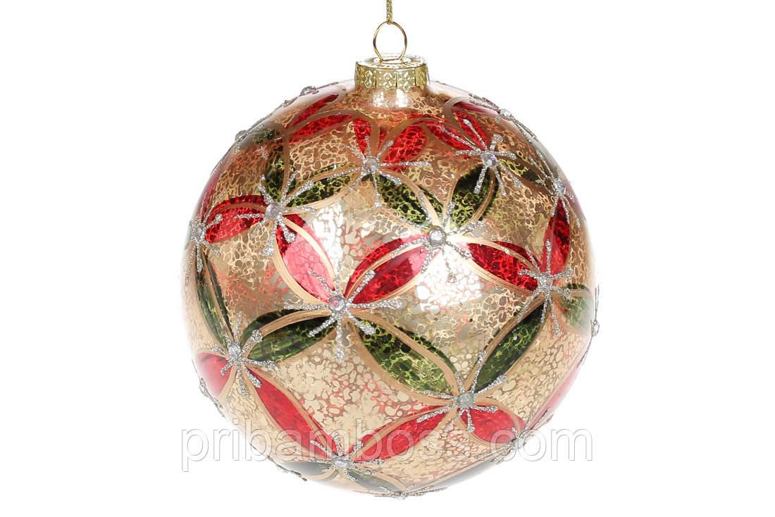 Елочный шар стекло, 12см, цвет - Арлекин 4 шт.