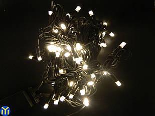 Гирлянда-нить 100 LED уличная тепло-желтая, 10 м, черный провод