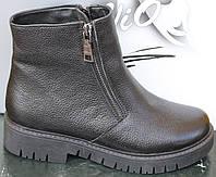 Ботинки зимние кожаные женские на низком каблуке от производителя модель САВ130К, фото 1