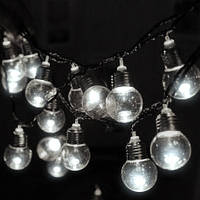 Уличная светодиодная ретро-гирлянда лампочки Lumion Filament Bulb String 2м 10 ламп наружная цвет белый холод.