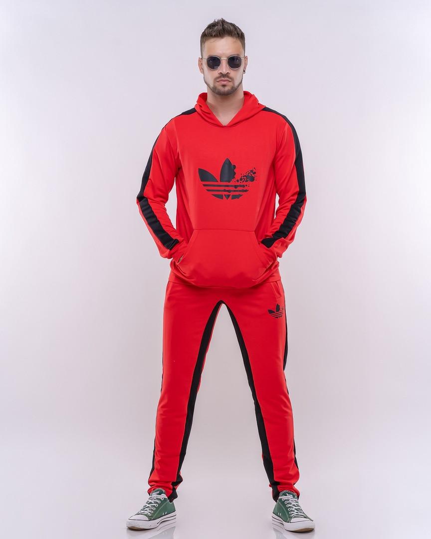 """Мужской трикотажный спортивный костюм """"Adidas"""" с карманами и капюшоном"""