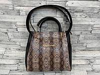 Женская сумка мини - шоппер Michael Kors (в стиле Майкл Корс) с косметичкой (черный/коричневый змея), фото 1